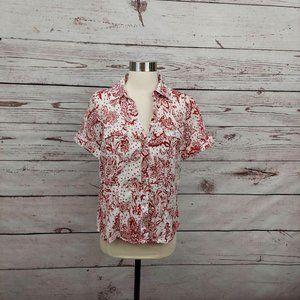5/$25 Karen Scott Floral Button Down Shirt Red S